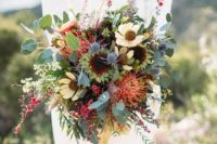 15 a boho bridal bouquet with textural greenery and lots of wildflowers for a wild feel