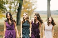 15 a dark green and different shades of purple for chic mismatching dresses for the fall bridesmaids