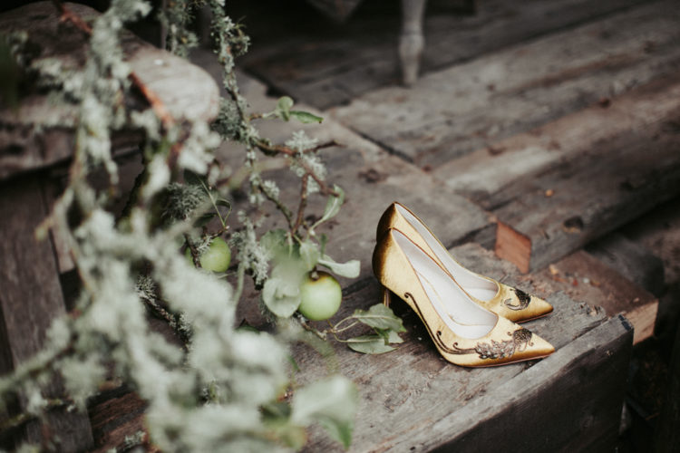 mustard velvet embroidered heels to embrace the season and add a colorful touch