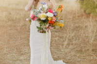 17 highlight your plain slip wedding gown with a bold bouquet that will contrast it a lot