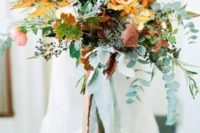 fall wedding bouquet with cascading greenery