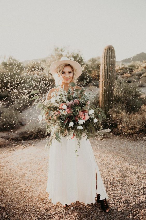 black lace up mules and a white hatmake this bridal look spicy and eye-catchy