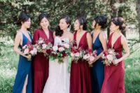 18 burgundy and navy maxi dresses with thick straps to spruce up the wedding color scheme