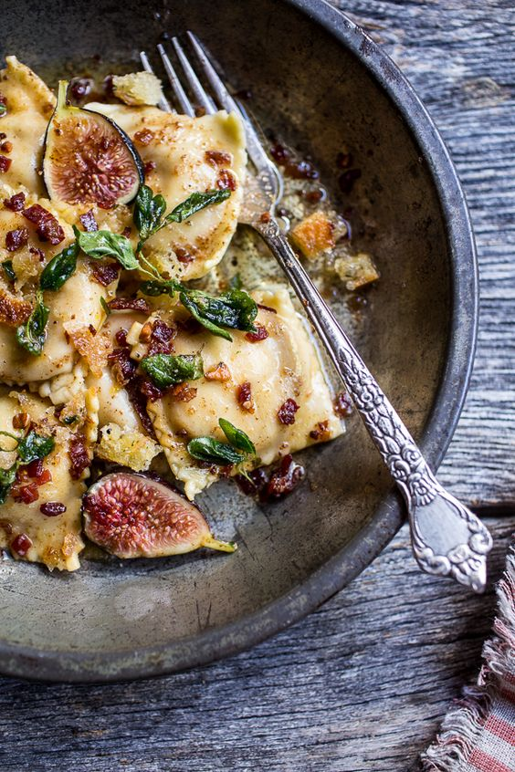butternut squash and goat cheese ravioli with browned butter and oregano bread crumbs