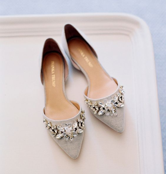 grey embellished flats are an amazing option to rock on a big day as they are super comfortable