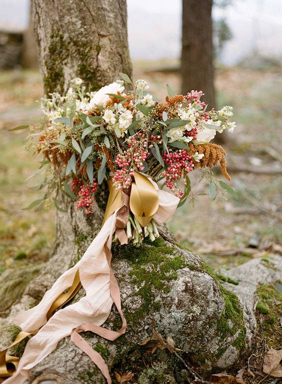 a wild fall wedding bouquet with seeded eucalyptus, white blooms and mustard touches plus blush ribbons