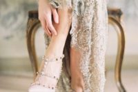 19 grey wedding dress with sequins and spiked blush heels for a neutral yet interesting look