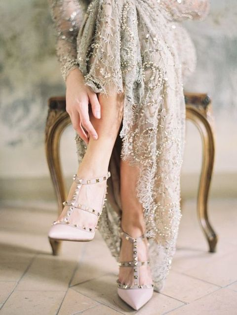 grey wedding dress with sequins and spiked blush heels for a neutral yet interesting look