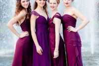 19 hot pink and purple mismatching maxi dresses with ruffles and different necklines look very feminine