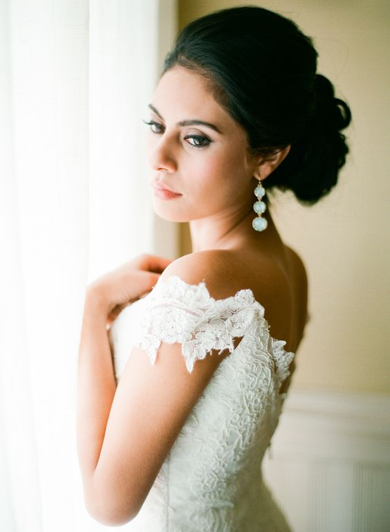 moonlight stone earrings for a luxurious and refined bridal look