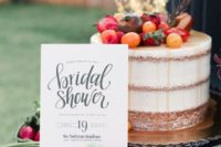 20 a naked cake topped with fruits and vegetables is right what you need for a rustic bridal shower