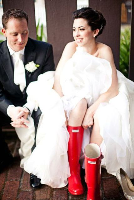 colorful boots for a fall wedding