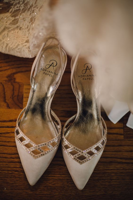 neutral shoes with embellishments always work for a refined bridal look
