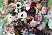 22 a luxurious bouquet with pink, burgundy and white blooms and greenery and foliage