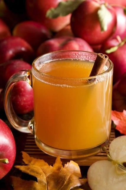 apple cider with a cinnamon stick is a great signature drink for your fall bridal shower