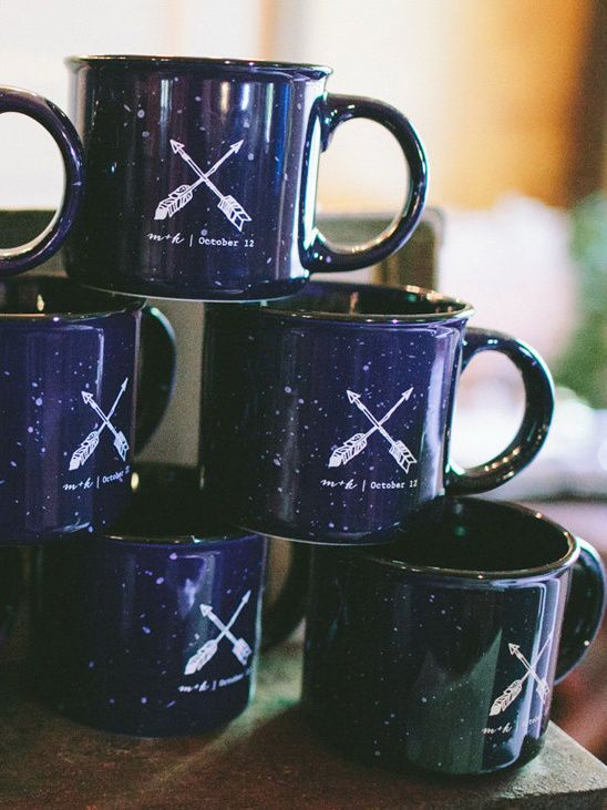 a camping mug is a great fall camping wedding favor and they look super cute