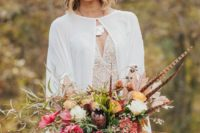 boho bride's attire for fall wedding