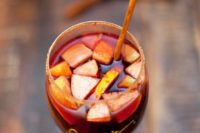 23 apple sangria with fruits as a signature drink for a fall bridal shower
