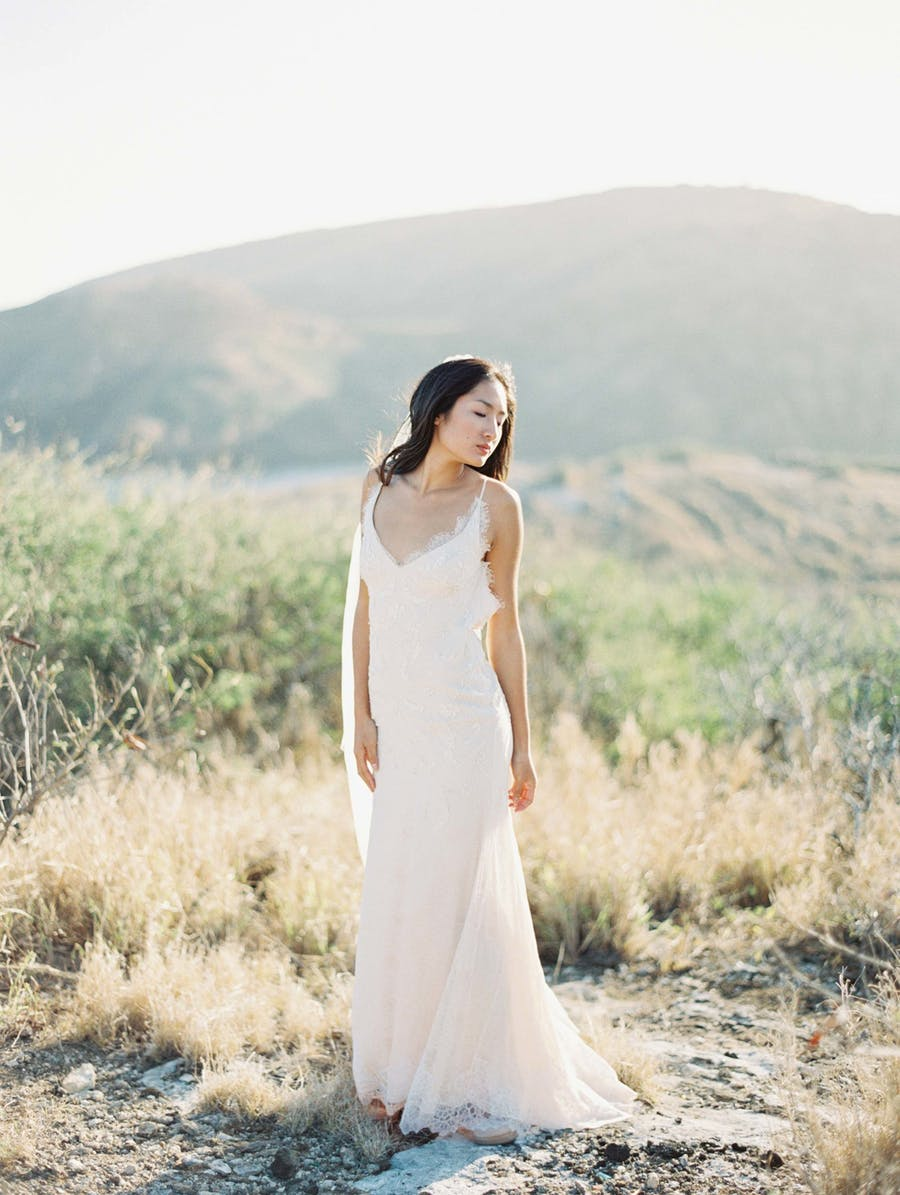 an all lace slip wedding gown plus waves down is a very cute and romantic idea