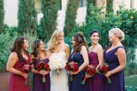 24 navy, purple, fuchsia and red maxi dresses with mismatched necklines but in the same style
