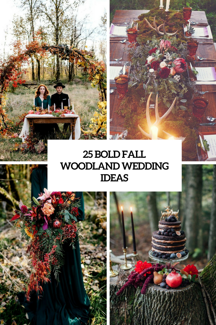 bold fall woodland wedding ideas cover