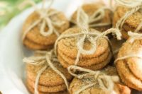 25 oatmeal cookies wrapped with twine are nice favors for a fall bridal shower