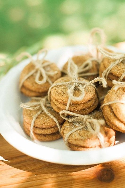 oatmeal cookies wrapped with twine are nice favors for a fall bridal shower