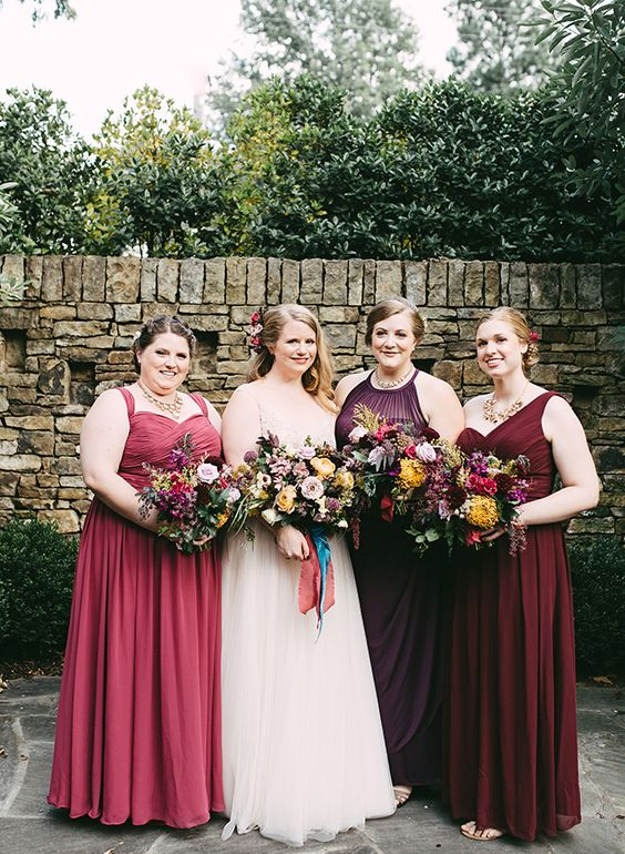 plus size plum, burgundy and red maxi draped bridesmaids' dresses with different designs