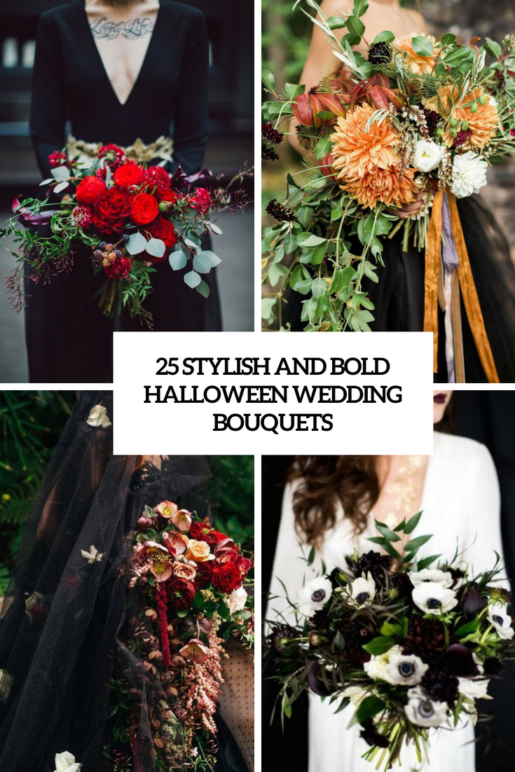 stylish and bold halloween wedding bouquets cover