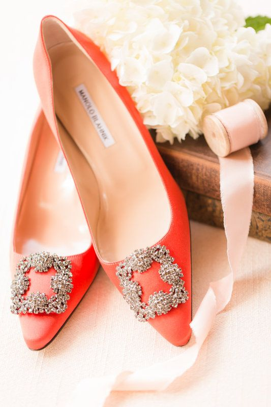 orange embellished wedding shoes by Manolo Blahnik for glam brides who love colors