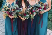 26 teal, navy and purple mismatching maxi dresses with different designs – mismatch done right