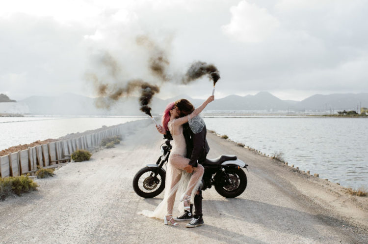Edgy Rock'n'Roll Ibiza Elopement