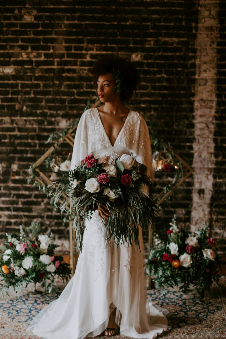This gorgeous wedding shoot is inspired by both art deco and boho chic styles