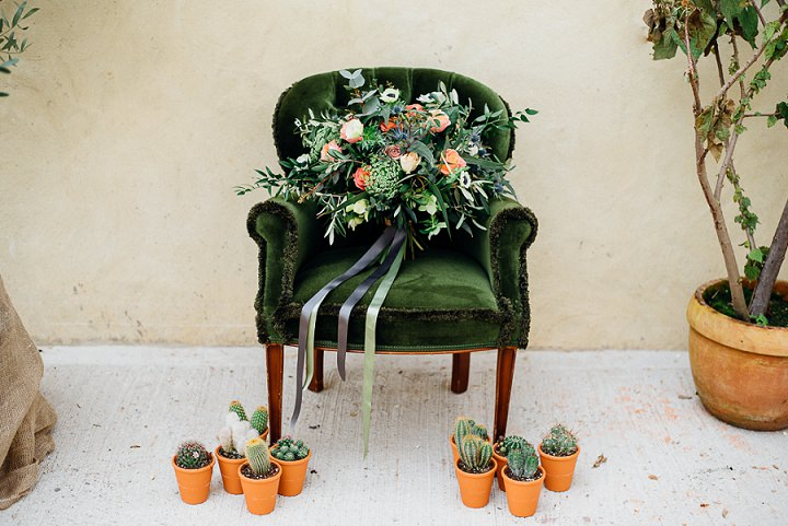 This wedding shoot is inspired by cacti, succulents, copper and popular boho chic style