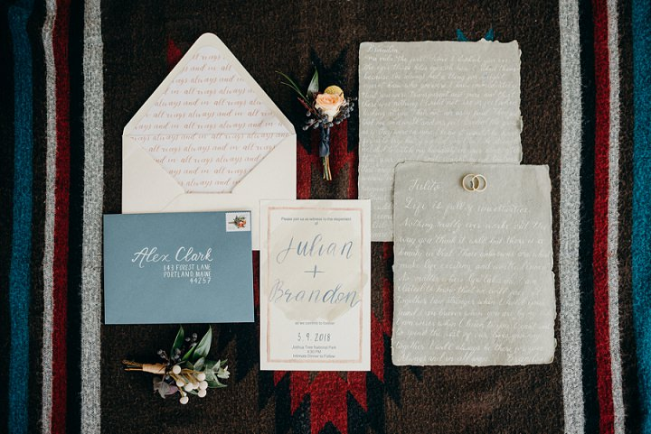 The stationery suite was neutral and muted, with neutral calligraphy and a raw edge