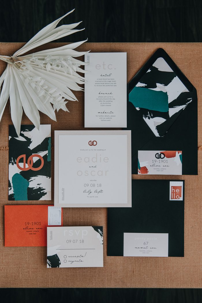 The wedding invitation suite was a bold one with prints for a modern yet boho feel
