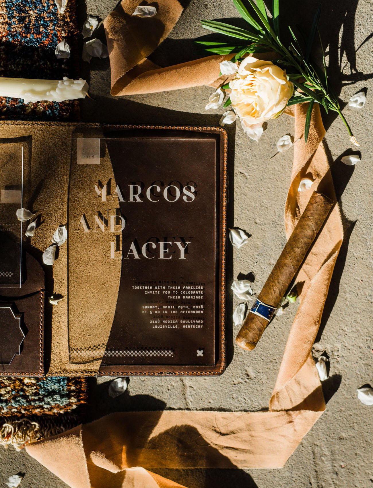 The wedding invitations were acrylic and leather ones to add a modern edgy touch