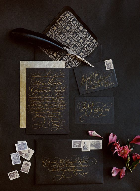 black wedding stationery is classic for Halloween and you may add gold calligraphy for a wow effect