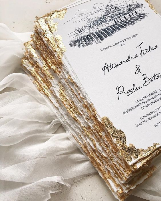 personalize your black and white wedding invitations with a touch of gold foil