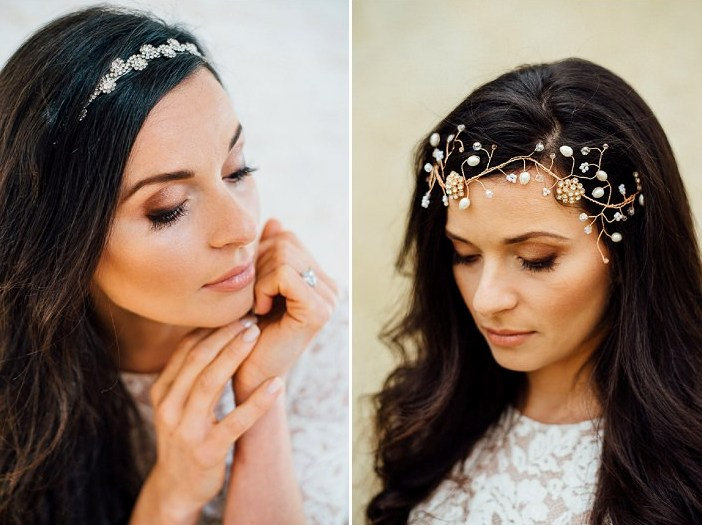 A gold hair vine with pearls and an elegant wedding headpiece were provided for the shoot