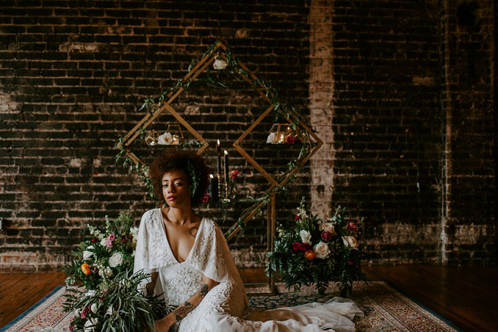 Luxurious florals with textural greenery were all around the space
