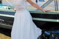 03 a bridal separate with embellishments, short sleeves and a midi skirt