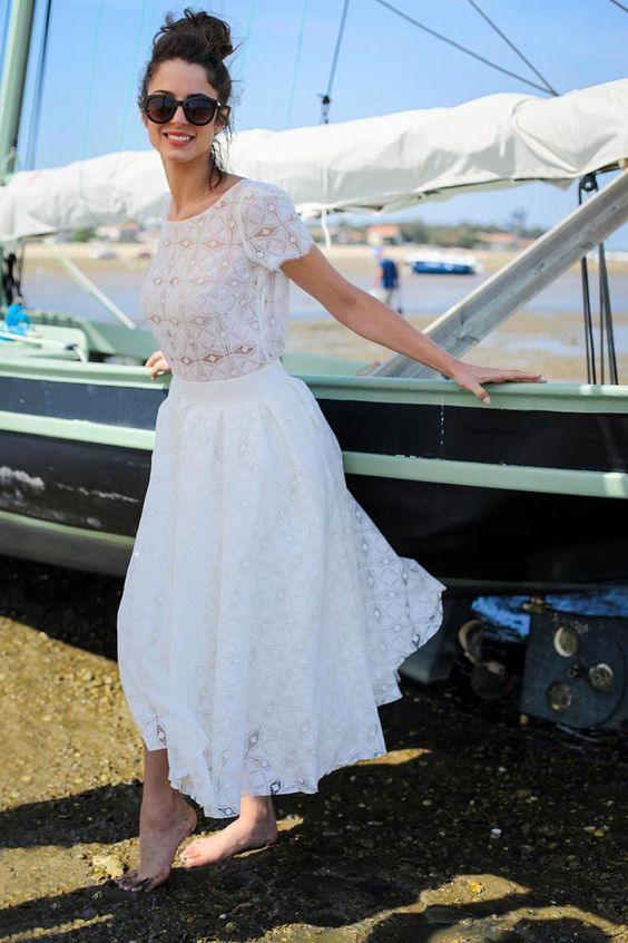 a bridal separate with embellishments, short sleeves and a midi skirt