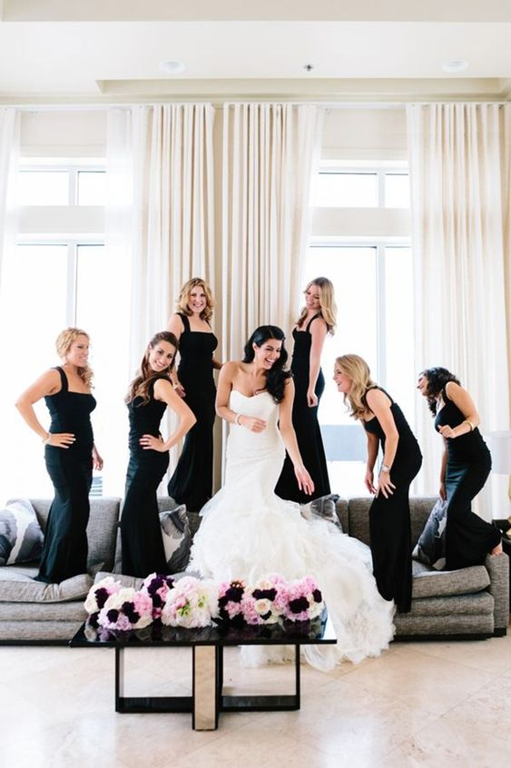 the same sheath black bridesmaids' dresses with thick straps for a timelessly elegant look