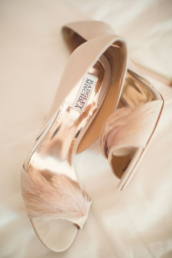chic blush feather shoes are a whimsy and cute touch to any bridal look