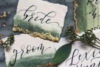 04 ombre forest green cards with a touch of gold foil on the edge for more elegance