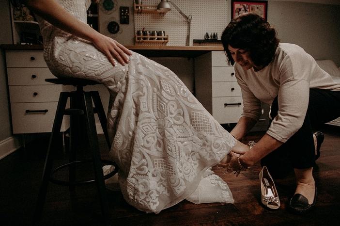 The wedding shoes were peep toe embellished ones