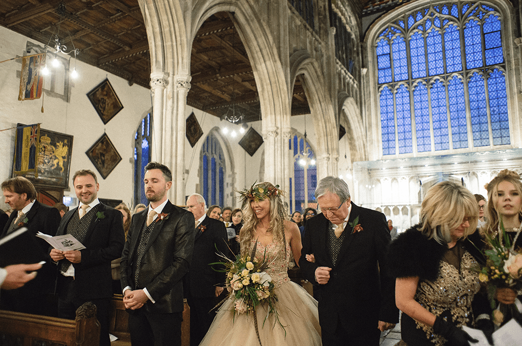 The wedding took place in a church, the decor was mostly DIY