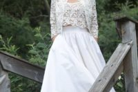 05 a chic bridal separate with a crochet lace top and bolero and a full plain skirt