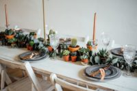 potted cacti and succulent wedding tablescape